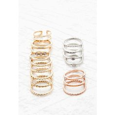 Forever 21 Mixed Band Midi Ring Set ($6.90) ❤ liked on Polyvore featuring jewelry, rings, mid-finger rings, womens jewellery, knuckle rings, rhinestone jewelry and triple band ring