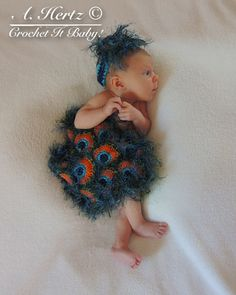 Crochet Peacock Cover and Headband Photo Prop by CrochetItBaby, $5.00
