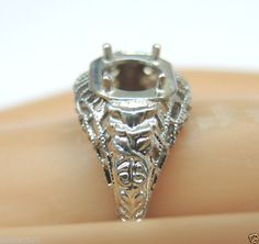 Antique Engagement Ring Setting 18k Mounting Mount Hold 5.5-6MMnVintage Filigree