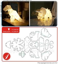 Origami lamp do it yourself new Ideas Origami And Kirigami, Origami Paper Art, 3d Paper Crafts, Paper Toys, Diy Paper, Diy And Crafts, Crafts For Kids, Paper Dinosaur, Origami Dinosaur Lamp