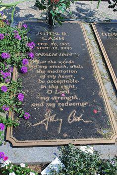 Johnny Cash (1932-2003) Singer/Musician  Grave Location: Henderson Memorial Gardens Hendersonville Tenn.