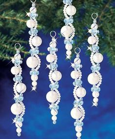 My favorite source for arts and crafts: Pearl Icicles Beaded Ornaments Kit Beadery Holiday Ornament Kit Pearl Icicles New Makes 6 Ornaments Create this beaded ornament to add some sparkle to your Christmas tree this holiday season. Beaded Christmas Decorations, Christmas Ornament Crafts, Christmas Tree Ornaments, Christmas Diy, Christmas Crafts, Christmas Jewelry, Homemade Christmas, Xmas Tree, Beaded Ornament Covers
