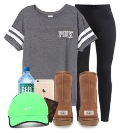 """""""11/11/15"""" by ayannnna ❤ liked on Polyvore featuring NIKE, Victoria's Secret PINK, UGG Australia and Louis Vuitton"""