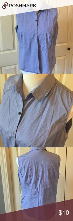 Light Blue/Purple Sleeveless Button Down 97% cotton 3% Lycra Old Navy Tops Button Down Shirts