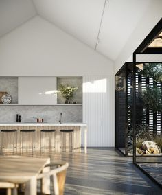 Imagining an escape to Pavilion House - a design oasis conceptualised by Camberlain Architects for Ruum Living. The fresh, light filled project blends perfectly with Australia's natural landscape, offering the ideal suburban living arrangement. Architect Design House, House Design, Contemporary Architecture, Interior Architecture, Pavilion Architecture, Interior Design, Gable House, New Home Designs, Scandinavian Interior
