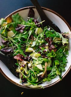 Green salad with apple, pepitas, cranberries and goat cheese - cookieandkate.com