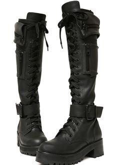 Obsidian Pocket Knee High Combat Boots