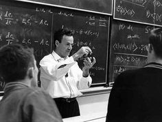 Richard Feynman in his element: lecturing. http://blogs.scientificamerican.com/degrees-of-freedom/2011/09/04/galactic-challenge-part-ii-the-richard-feynman-files/