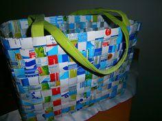 MyDimana: Upcycling Tetrapaks, geflochtene Tasche