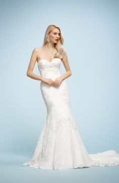 Watters - Sweetheart Sheath Gown in Lace