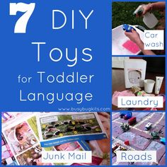 BusyBug Kits: 7 DIY Toys for Toddler Language Development. Pinned by SOS Inc. Resources. Follow all our boards at pinterest.com/sostherapy for therapy resources.