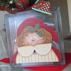 Santa Claus Glass Cube with Twinkle Lights - Christmas Decoration Light. $26.00, via Etsy.