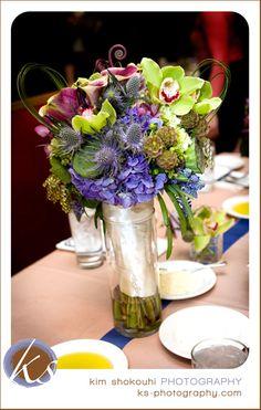 Green Eggplant Periwinkle Purple Blue Orchid Wedding Bridal Bouquet
