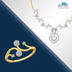 Begin the first day of the week in combined sparkles; choose this Asmi diamond ring and necklace.