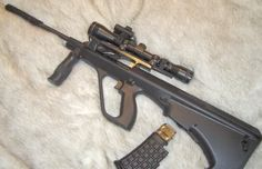 Ruger 10/22 .22LR modded inside a softair Steyr AUG chassis