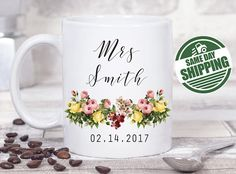 engagement mug, engagement gift, future mrs mug, future mrs, mr and mrs mugs , engaged mug , future mrs sash, mrs mug, personalized mug  This cute design will be printed on best quality Grade A fully white Mugs or Mugs with black handle. If you prefer, we can print design on one