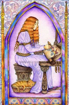 'Begin to weave a dream and the nature will provide the threads...' The Weaver ~ Painting by Holly Sierra for The Chrysalis Tarot Deck.