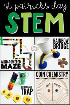 Four LOW PREP St. Patrick's Day STEM Challenges | March STEM Activities for Elementary Students