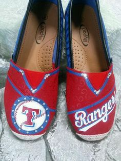Texas Rangers Hand Painted Toms-like Canvas by TouchOfJoyDesigns