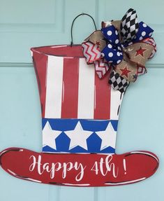 Excited to share this item from my shop: of July door hanger, Uncle Sam hat door hanger, patriotic door hanger, of July, Independence Day door hanger/Memorial Day Door decor 4th Of July Party, Fourth Of July, 4th Of July Wreath, Patriotic Party, Patriotic Crafts, Summer Wreath, Memorial Day, Hat Hanger, The Birth Of Christ