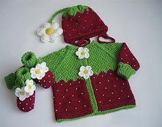 Set crochet strawberry baby - Free Pattern | Crochet Design