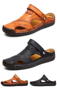 Comfortable and cheap mens shoes online store, NewChic provides various discount mens shoes online and they are selling at a wholesale price. Mens Closed Toe Sandals, New Shoes, Shoes Sandals, Shoes Men, Leather Men, Soft Leather, Mens Fashion Shoes, Men's Fashion, Fashion Tips