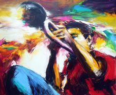 jazz assis - Peinture,  80x100 cm ©2011 par Christian Vey -