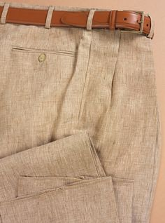 Plaid Nut and Cream Linen Trousers