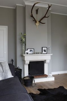 Grey colors, antlers, fur, fireplace, etc. Living Room Colors, Living Room Grey, Home And Living, Style At Home, Home Fireplace, Classic Fireplace, Faux Fireplace, Fireplaces, Cosy Room
