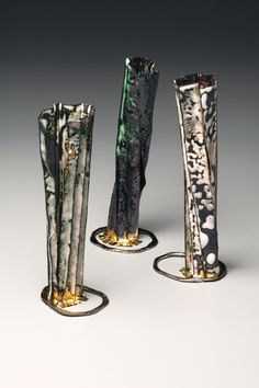 Kate Cathey - Tall pleated vessels