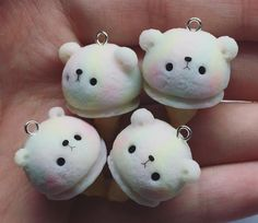 Polymer clay kawaii polar bear teddy ice cream cone icecream