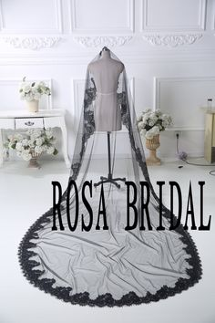 Black Lace edge Bridal veil cathedral, Black wedding veil, Black Wedding bridal veil, 1T bridal veil without comb by rosabridal on Etsy https://www.etsy.com/listing/217865213/black-lace-edge-bridal-veil-cathedral