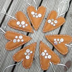 Gingerbread Love Heart  Christmas Felt Decoration, Holidays, Tree Ornament - Handmade Buttons Handstitched Door Hanger. $7.00, via Etsy.