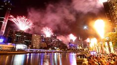 New years eve fire works in Melbourne. Picture: Glenn Daniels