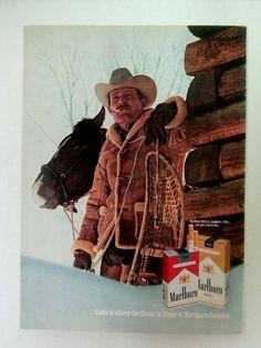 Vintage Print Ad 1970 Marlboro Man snow shoes advert