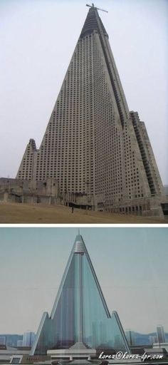 The Ryugyong - North Koreans drew up plans for a 105 floor hotel. The estimated cost to build would be around $230 million. By 1992 numerous delays & problems had driven the cost up to over $750 million. The building finally reached its full architectural height by 1992, but a broke government & lack of investors meant the project would be abandoned Had the hotel been finished it would have stood as the tallest hotel and the seventh tallest building in the world.