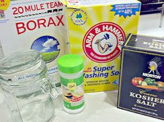 Homemade Dishwasher Detergent. (small green container is Fruit Fresh. Can also use citric acid, or lemonaide flavor KoolAid, only lemon only unsweetened.) 1 C baking soda or washing soda, 1 c. borax, 1/4c kosher salt, 1/4 c citric acid. Add 1-2 Tbl of this with 3 drops of Dawn, no more than 3! Then add 1/2-1 c white vinegar in the bottom of the dishwasher and run.
