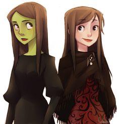 Elphie and Nessa by h-Robun.deviantart.com on @deviantART // Elsa and Anna or Rain and Melsinine