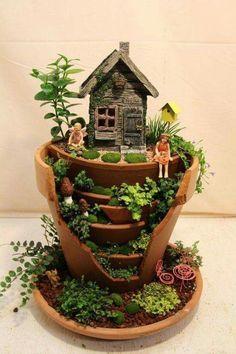 Broken pot fairy garden