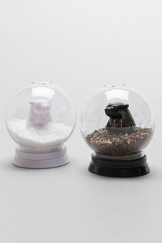 Snow Globe Bears Salt + Pepper Shaker Set