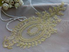 Vintage Style Applique Gold Alencon Lace Applique by lacelindsay