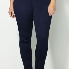 Navy Butter Denim® Skinny Jean-Plus Size Skinny Jeans-Avenue