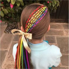 Girl Hairstyles, Braided Hairstyles, Hairdos, Rainbow Braids, Wacky Hair, Rainbow Ribbon, Crazy Hair Days, Braids With Extensions, Irish Pride