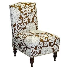 Upholstered slipper chair with a pine wood frame and floral motif in chocolate. Handmade in the USA.     Product: Accent chair ...