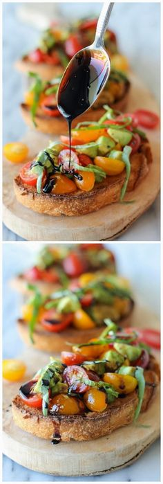 Avocado Bruschetta with Balsamic Reduction This bruschetta recipe brightens up the smooth texture of ripe avocado with the juicy tartness of grape tomatoes. Serve it with a spoonful of balsamic reduction to complete the midday treat or party snack!