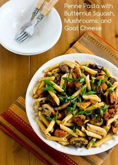 Recipe for Vegetarian Penne Pasta with Butternut Squash, Mushrooms, Scallions, and Goat Cheese; this recipe has a few steps, but it's easy enough for a quick weeknight dinner. [from Kalyn's Kitchen] #MeatlessMonday