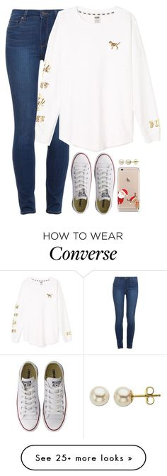 """Getting in the Christmas spirit"" by meljordrum on Polyvore featuring Paige Denim, Victoria's Secret PINK, Converse and Lord & Taylor"