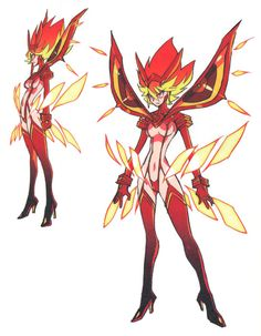 The costume design for Ryuko's final look Senketsu Kisaragi, featured in the last episode of Kill la Kill (キルラキル). The Kill la Kill Official Guide Book Kamui Banshou (Amazon JP) did not include a back view!