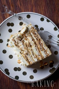 Markiza Cake Recipe (Marquise Cake) - Shortbread cake layers topped with crunchy meringue and walnuts, then sandwiched with Russian Buttercream Layer Cake Recipes, Dessert Recipes, Shortbread Cake, Opera Cake, Russian Cakes, Meringue Cake, Walnut Cake, Fancy Cakes, Crazy Cakes