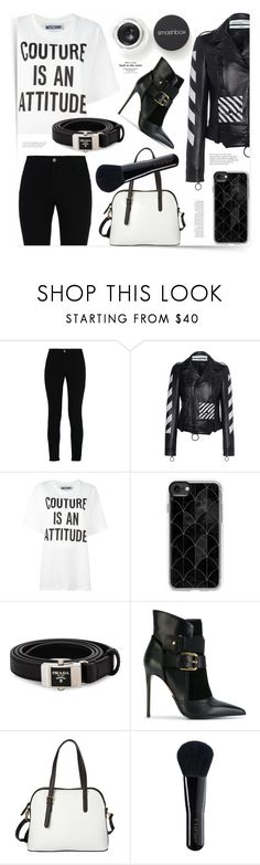 """""""Black and White 2"""" by ames-ym ❤ liked on Polyvore featuring See by Chloé, STELLA McCARTNEY, Off-White, Moschino, Casetify, Prada, Balmain, La Diva, Smashbox and Anja"""